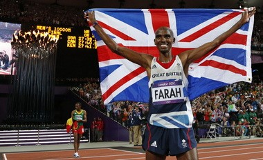 Mo Farah, pictured here celebrating Olympic gold, lives quietly and largely unrecognized in Portland with his family