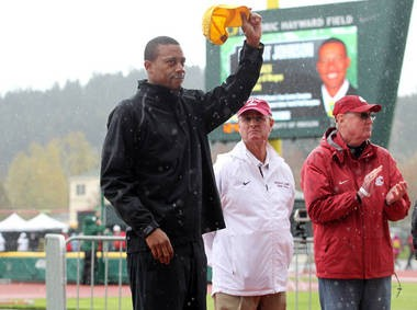 Oregon coach Robert Johnson acknowledges the crowd at the Pepsi Team Invitational.
