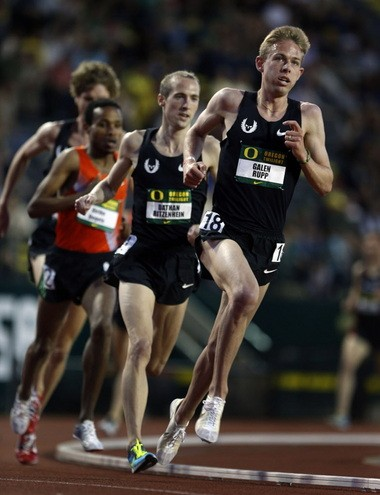 Galen Rupp and Dathan Ritzenhein are first and second during the 3,000 at the Oregon Twilight. And that is how the race finished.