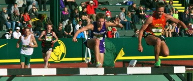 University of Portland's Jared Bassett (second from right) clears a barrier in a race run last season.