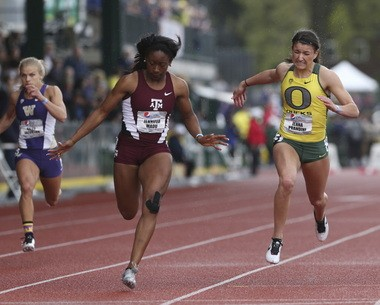 Oregon's Jenna Prandini (right) shown here finishing second to Texas A&M's Jennifer Madu in the 100 meters at the Pepsi Team Invitational.