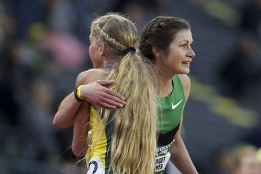 Jordan Hasay (left) and Bridget Franek of OTC Elite embrace after a race at this year's Oregon Relays.