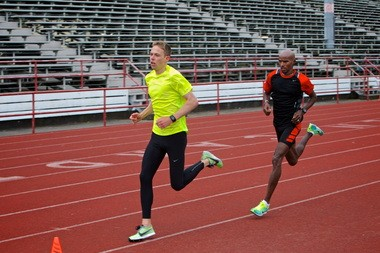 Mo Farah (right) pictured here training with teammate Galen Rupp earlier this spring at Lincoln High School in Portland. Farah will be in a wicked 10,000 Friday night in the Prefontaine Classic. Rupp is running in Saturday's 5,000.