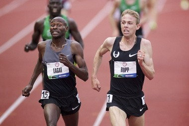 Galen Rupp passes Bernard Lagat just before the finish line in the 5,000 meters at the 2012 U.S. Olympic Trials.