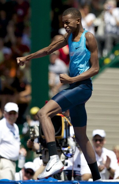 Mutaz Essa Barshim pumps his fist after the highest high jump clearance in the world in 13 years.