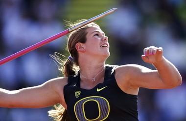 Oregon's Liz Brenner unexpectedly scored for the Ducks in the javelin.