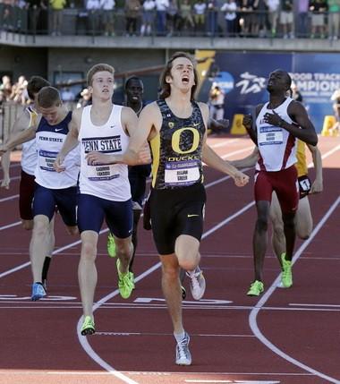 Oregon's Elijah Greer wins the men's 800 meters.