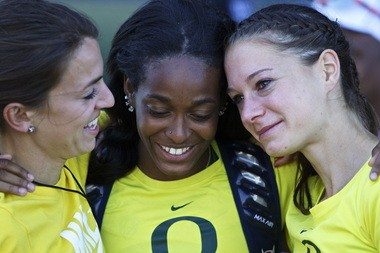 From left to right, Becca Friday, English Gardner and Kesselring share a hug after the bottom dropped out of Oregon's bid for the NCAA outdoor championship.