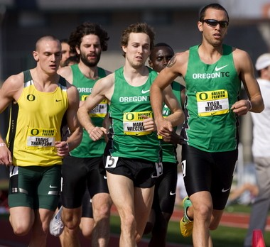 The Oregon Track Club's Tyler Mulder (right) is tired of being only close.