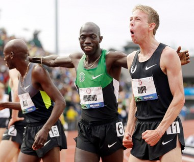 Lopez Lomong (center) with Bernard Lagat (left) and Galen Rupp at the 2012 U.S. Olympic Trials.