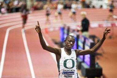 ALBUQUERQUE, NEW MEXICO, - Mar 14, 2014 - Edward Cheserek wins 5K in the NCAA Indoor Track and Field Championships, Fri, Mar 14, 2014, in Albuquerque, New Mexico. Thomas Boyd/The Oregonian