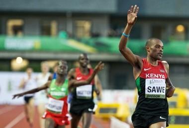 EUGENE, OREGON - Jul 24, 2014 - Jonathan Kiplimo Sawe wins the 1500-meter at Hayward Field for the IAAF World Junior Championships, Thu, Jul 24, 2014, in Eugene, Oregon. Thomas Boyd/The Oregonian