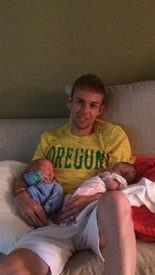 American 10,000-meter record-holder Galen Rupp poses with his newborn twins.
