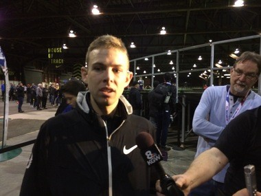 Portland distance runner Galen Rupp talks to reporters after winning the 3,000 meters and posting a USA Track & Field Indoor Championships qualifying time Friday at the House of Track.