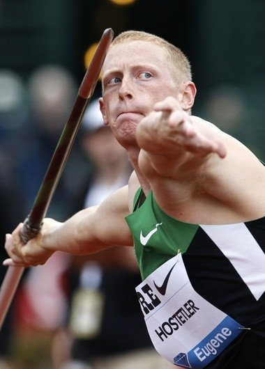 Cyrus Hostetler is pictured throwing in the 2012 Prefontaine Classic. He finished fourth in the competition.
