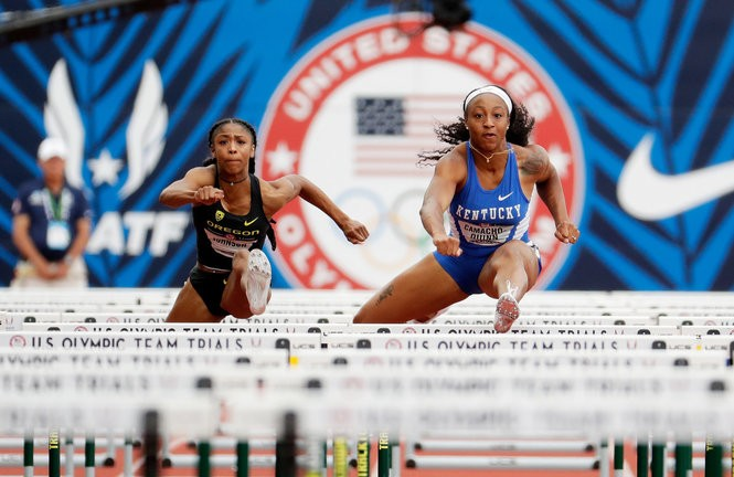 Alaysha Johnson (left) competes in last summer's U.S. Olympic Trials.