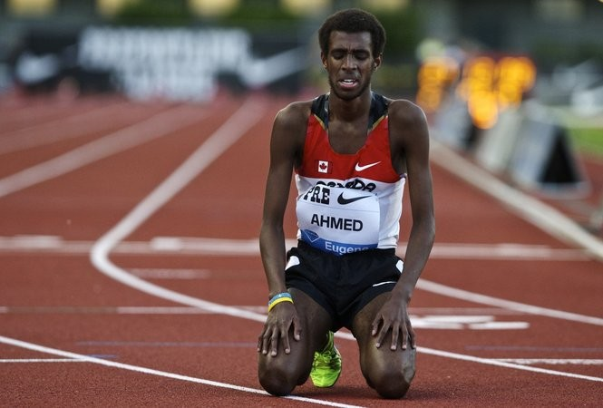 Mohammed Ahmed is pictured after finishing the 10,000 meters in the 2013 Prefontaine Classic.