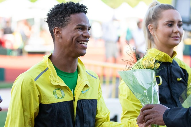 Damarcus Simpson is recognized at the Oregon Twilight track and field meet on May 4.