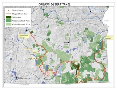 Route of the Oregon Desert Trail.
