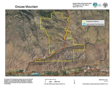 Land on Grouse Mountain (shown in yellow) is a possible acquisition by the Oregon Parks and Recreation Department. Existing Clyde Holliday State Recreation Site is in blue, located on the John Day River in Grant County near the intersection of U.S. 395 and U.S. 26.