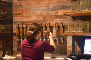 Bartender Tabatha Wiggins pours another cold one at Pfriem Family Brewers in Hood River.