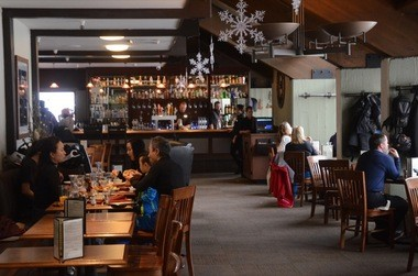 The Alpenstube Restaurant is the main after-ski gathering place at Mt. Hood Meadows.