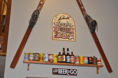Ski and beer memorabilia decorate the walls at Solera Brewery in Parkdale.