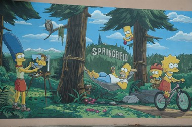 """""""The Simpsons"""" mural in Springfield, at 500 Main St. outside Emerald Arts Center. Scenes around Eugene/Springfield, Oregon, Oct. 17, 2014."""