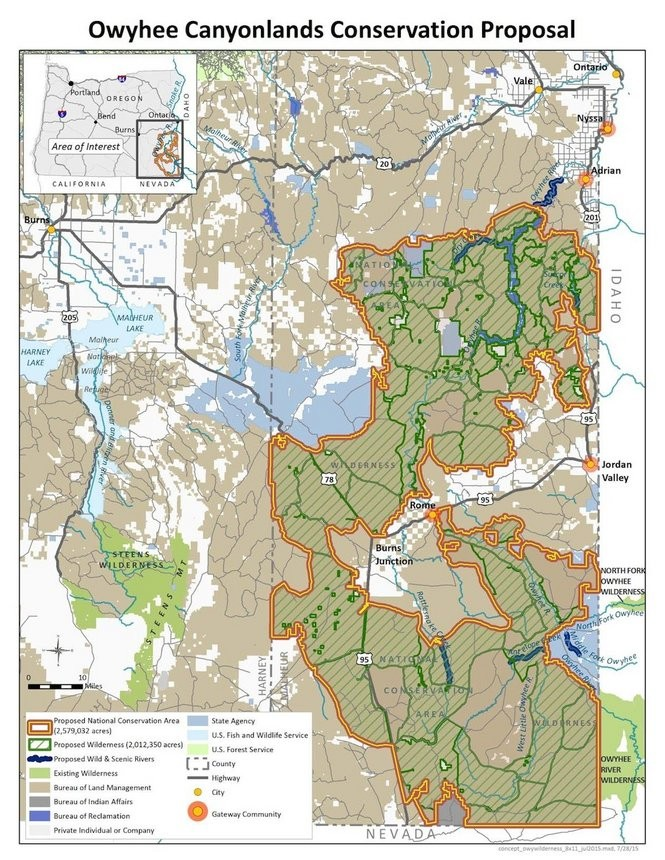 A map of the proposed Owyhee conservation area.