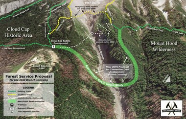 The proposed reconnection of the Timberline Trail, a 40-mile trek around Mt. Hood.