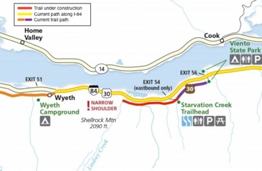 The 1.3-mile segment of the Columbia River Historic Highway trail being worked on in 2016.