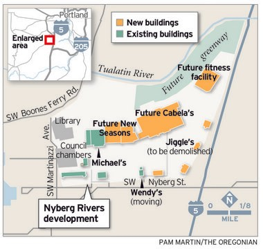 Nyberg Rivers is a 26 acre Tualatin shopping center redevelopment project estimated to cost the developer and tenants $65 million before it opens in 2014.