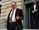 Embattled real estate mogul Tim Blixseth leaves a Montana courthouse earlier this year.
