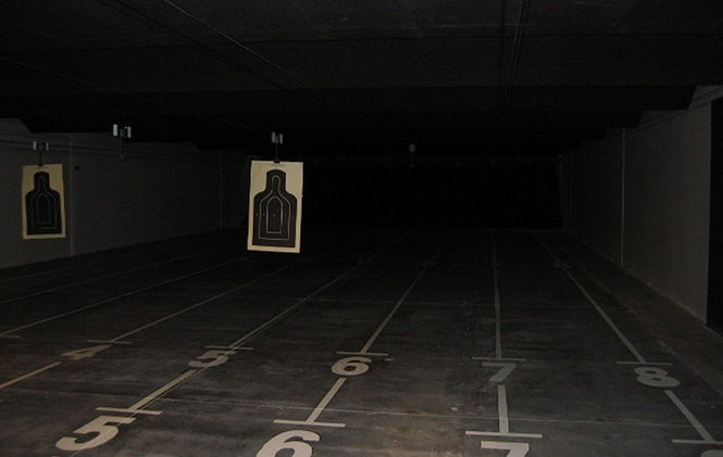 The empty firing range at the National Guard armory in Springfield, Oregon. The National Guard hasan estimated 1,800 armories with current or former firing ranges but still does not know how many are contaminated with lead dust.