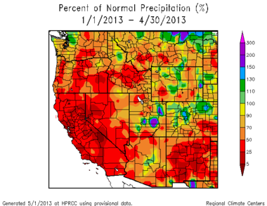 Rainfall from January 1 through April 30 is running well below average in Oregon and Calfornia.