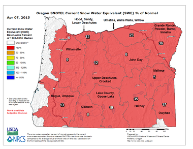 Oregon's combined basin snowpack in Oregon is just 16 percent of normal.