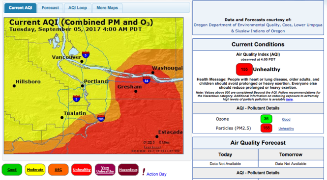 Air quality index as of 5:30 a.m. Tuesday.