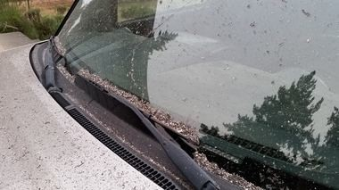 Ash on a car windshield in Vancouver Wash as of Tuesday morning.