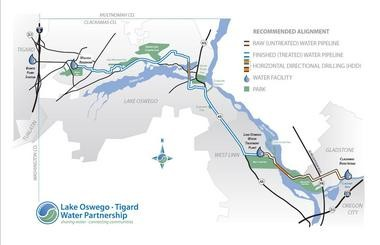 A map lays out the facilities planned for upgrades to serve a drinking water partnership between Lake Oswego and Tigard. The project is estimated to cost both cities $250 million with a target finish date of July 1, 2016.