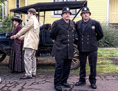 Detective Mike Francis (left) and Officer Brad Moyle were patrolling a historic re-enactment of West Linn, circa 1913, when they stopped a drunk driving suspect.