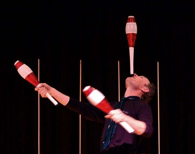 Henrik Bothe's talents include juggling, magic, and comedy