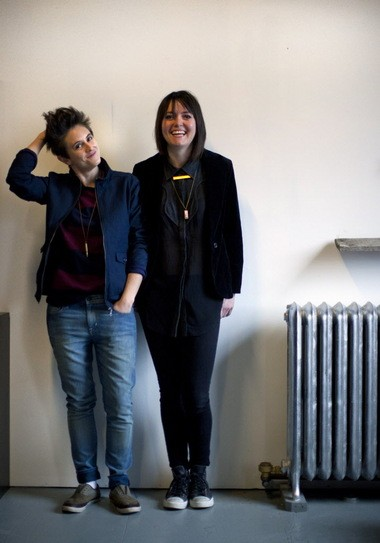 Wildfang's co-founders, Julia Parsley, left, and Emma McIlroy in their Chinatown office in 2013.