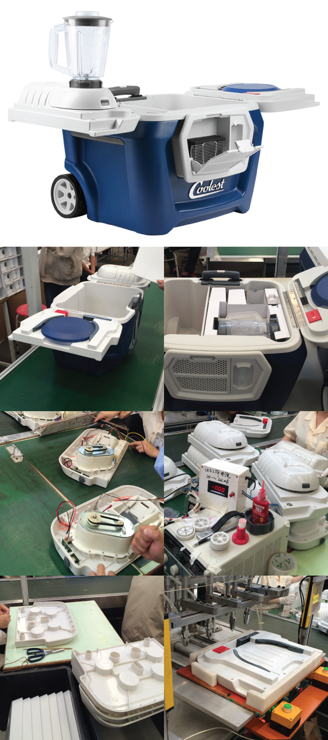According to spokeswoman Susan Towers, these photos were taken at the Coolest factory in China this week. Cooler production began Tuesday, she said.