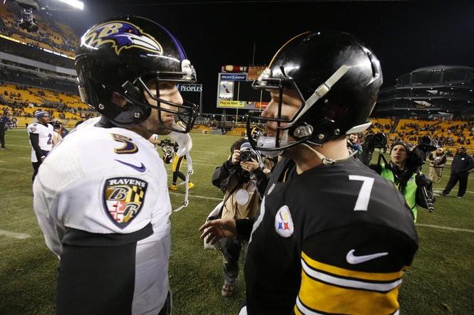 849b147a618 Pittsburgh Steelers quarterback Ben Roethlisberger (7) talks with Baltimore  Ravens quarterback Joe Flacco (5) after an NFL wildcard playoff football  game, ...