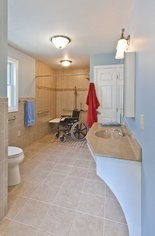 Grab bars at the toilet and in the bathtub or shower significantly increases safety.