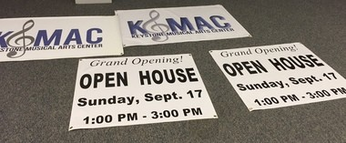 Signs for Sunday's open house at Keystone Musical Arts Center's new location in Hampden Township.