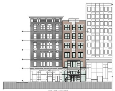 Pictured is a rendering of an office tower (middle building) that Harristown plans to build in Harrisburg.
