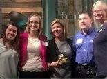 Pictured left to right are Jacquelyn Lewis (Millers Mutual), Tyne Stock (Millers Mutual), Jennifer Delaye (2015 United Way Campaign Chair and The JDK Group CEO), Mike Ross (Millers Mutual), and Michelle Pazdan (Millers Mutual).