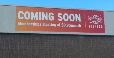This sign is located at the Dauphin Plaza shopping center. Fitness Crunch is expected to open in the winter in a space at the shopping center.