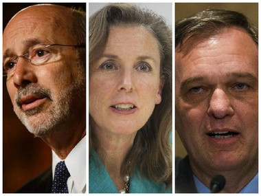 (From left, Gov. Tom Wolf; Chief of Staff Katie McGinty and Policy Secretary John Hanger)
